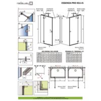 Shower enclosure Essenza Pro KDJ+S Technical drawings