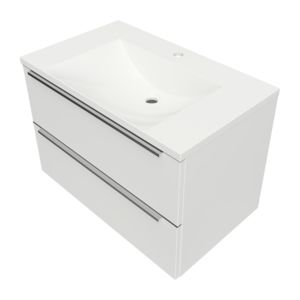 DREAMSET DREAMSET7630BP - Vanity unit, 76 x 46 cm, with basin marble+, glossy white