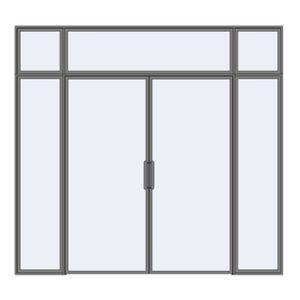 Drzwi rozwierne podwójne z naświetlem i panelami stałymi