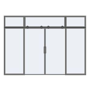 Drzwi przesuwne pojedyncze z naświetlem i panelami stałymi