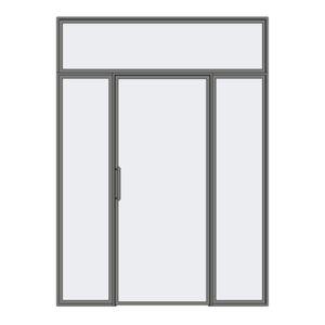 Drzwi rozwierne pojedyncze z naświetlem i panelami stałymi