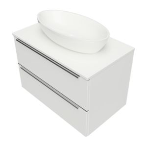 DREAMSET DREAMSET7620BP - Wall hung vanity unit, 76 x 46 cm, with worktop and basin marble+, glossy white