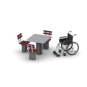 Stolik betonowy integracyjny, siedziska z oparciami