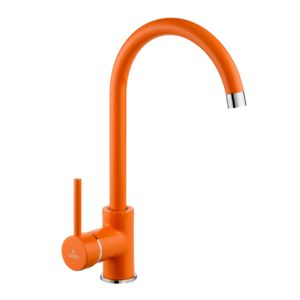 Orange standing sink mixer with U spout