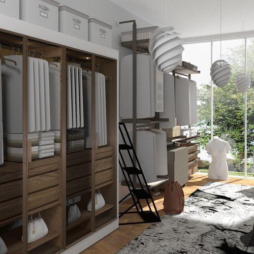 Garderoba w szklanym apartamencie