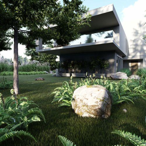Leśny ogród przy nowoczesnym domu