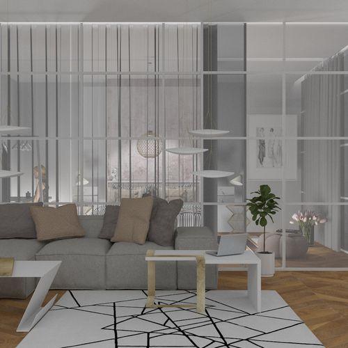 Salon/sypialnia w szklanym apartamencie