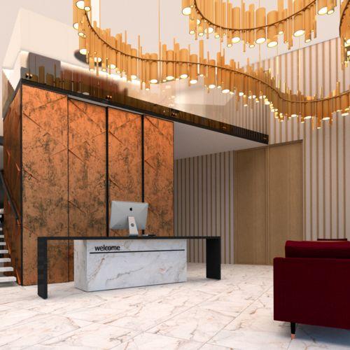 Minimalistyczny projekt wnętrza hotelu czterogwiazdkowego.