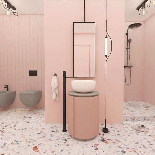 Różowa pastelowa łazienka