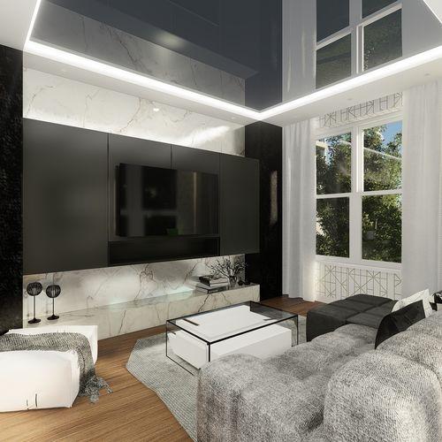 Monochromatyczne, eleganckie mieszkanie, proj. pow 60 m2