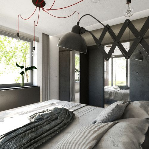 Sypialnia z industrialną nutą