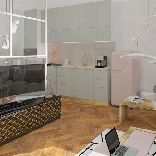 Salon w szklanym apartamencie