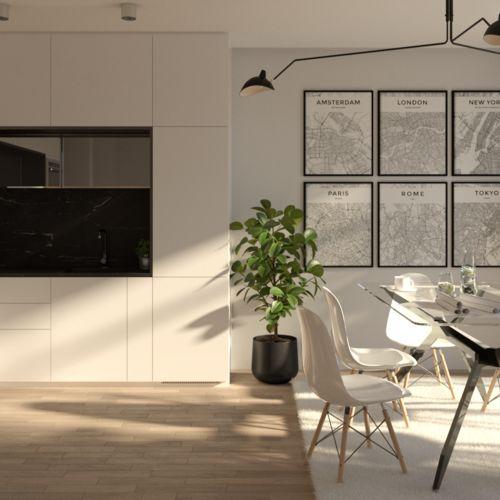 Kuchnia w odcieniach bieli i czerni.