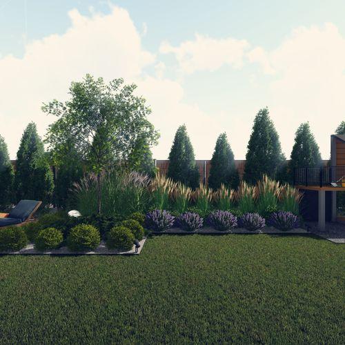 Projekt ogrodu przy nowoczesnej zabudowie szeregowej