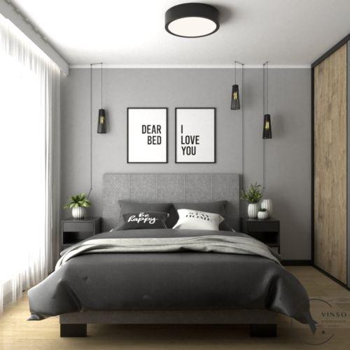 Nowoczesna sypialnia w szarościach