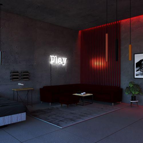 Luksusowy pokój hotelowy w stylu industrialnym