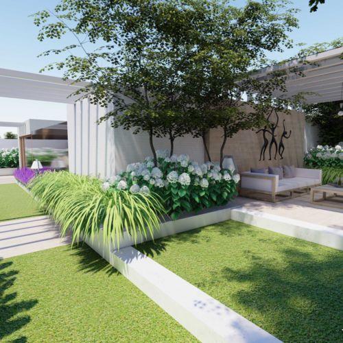Ogród nowoczesny na dachu - Roof garden - Taras