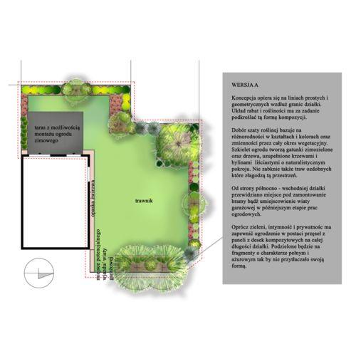 Projekt ogrodu przy zabudowie szeregowej we wsi Wysoka