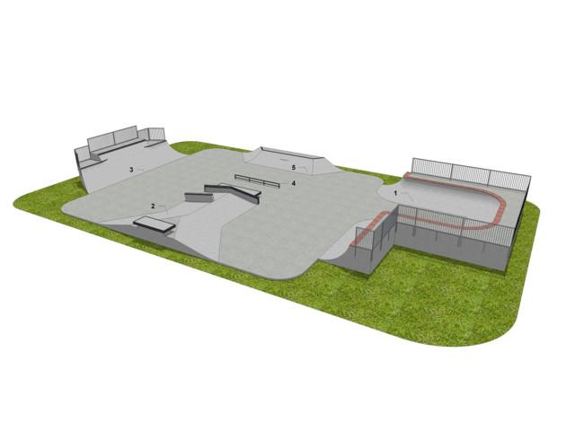 Skatepark, Skatepark LC 450 m2, Techramps Concrete