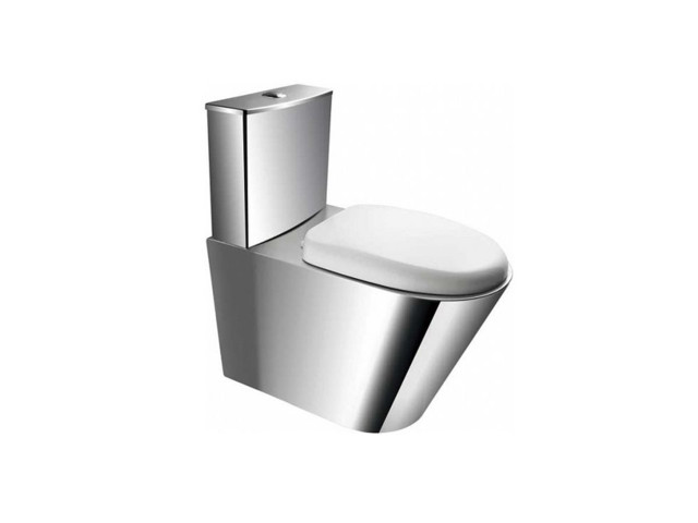 Close-Coupled WCs, Stainless steel compact toilet with PVC seat, floor settled, FANECO