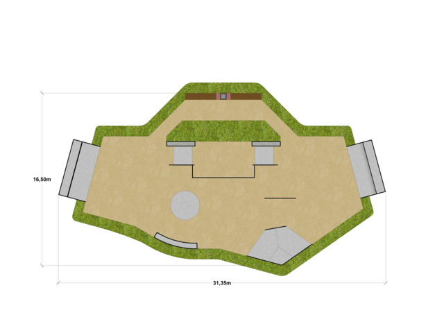 Skatepark, Skatepark 275 m2, Techramps Concrete