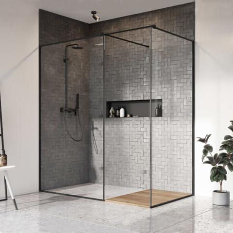 Shower Cabins, Shower enclosure Walk-in: Modo X / Modo New Black III Frame, Radaway