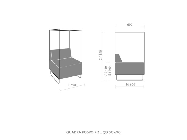 Sofas, QUADRA QD P690, Bejot