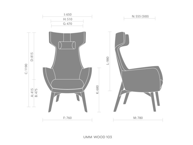 Armchairs, UMM WOOD UM 703, Bejot