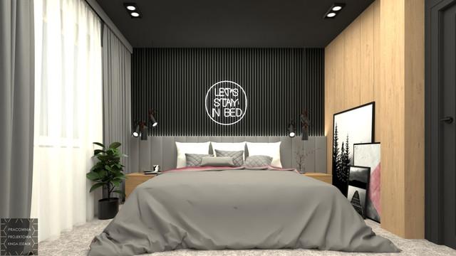 Odważna sypialnia w kobiecym mieszkaniu