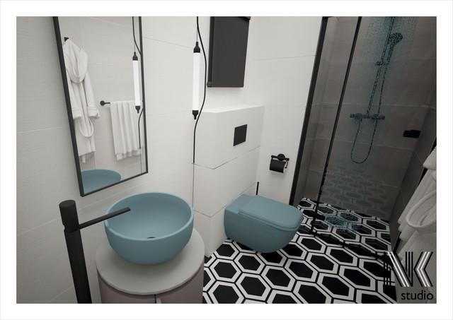 Mała łazienka z geometryczną podłogą