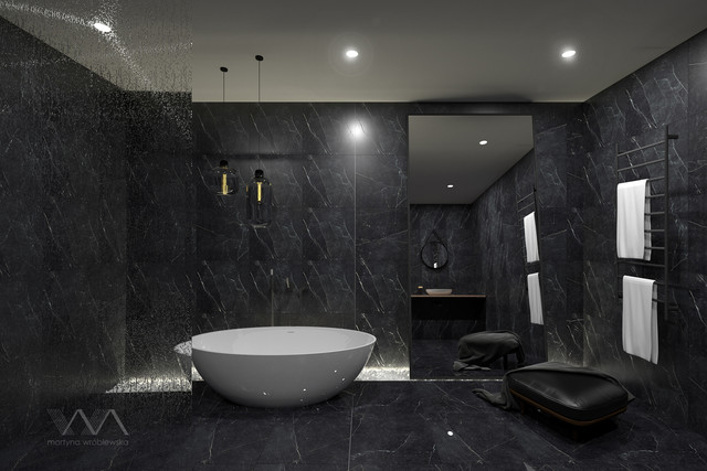 Simple but in strong dark colors. A bathing room, whose...