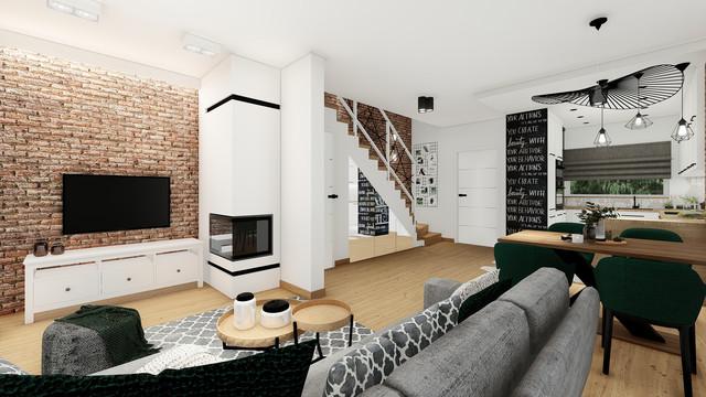 Eklektyczne wnętrze szeregówki, proj. pow. 40 m2