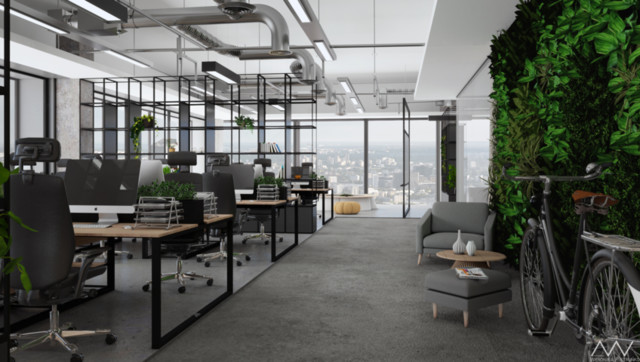 Open space in an office building in Warsaw
