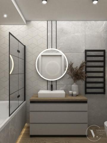 Skandynawska łazienka z czarnymi dodatkami