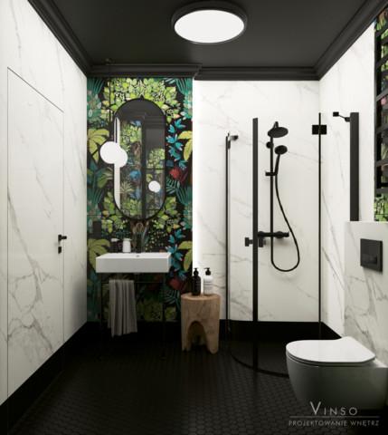 Stylowa łazienka z czarnym sufitem