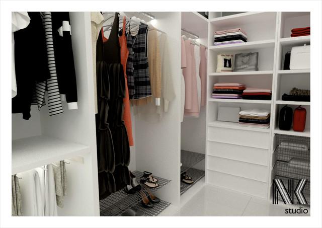 Biała łazienka z garderobą