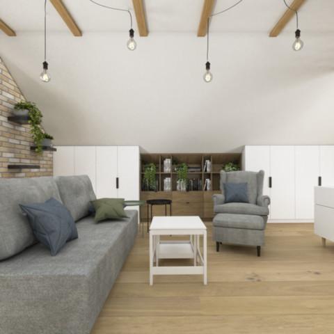 Skandynawski salon wypoczynkowy na poddaszu