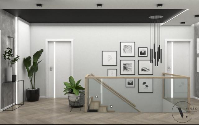 Koncepcja nowoczesnego holu w czarno- białej kolorystyce