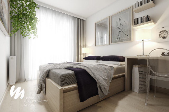 Jasna sypialnia z miejscem do pracy