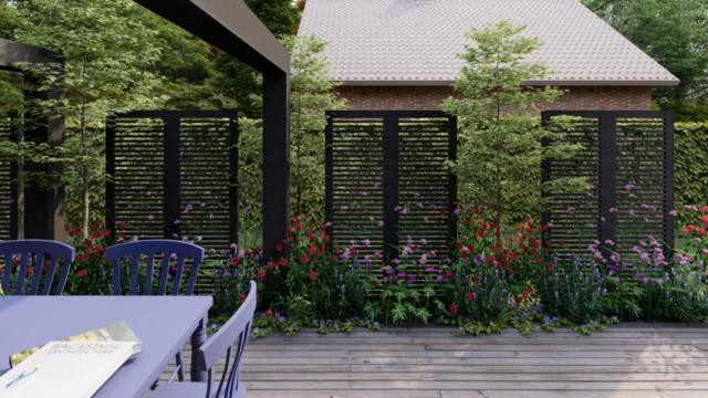 Ogród czerwono fioletowy w Darłowie