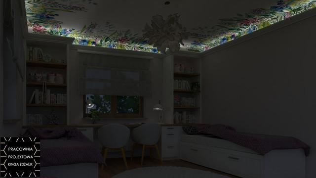 Pokój dwóch dziewczynek z tapetą na suficie