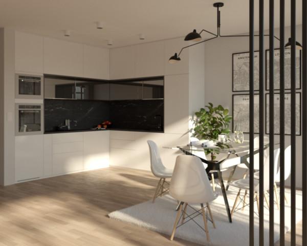 Kuchnia połączona z jadalnią w odcieniach bieli i czerni....
