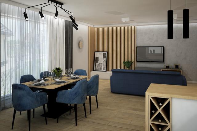 Projekt nowoczesnego salonu z aneksem kuchennym