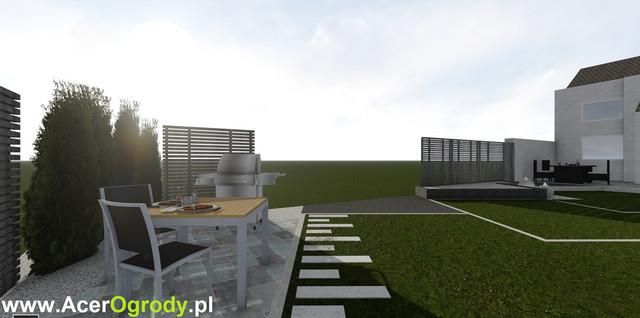 Nowoczesny Projekt Ogrodu przy szeregowcu w Białymstoku