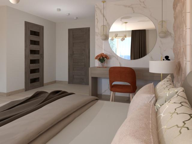 Projekt sypialni z łazienką