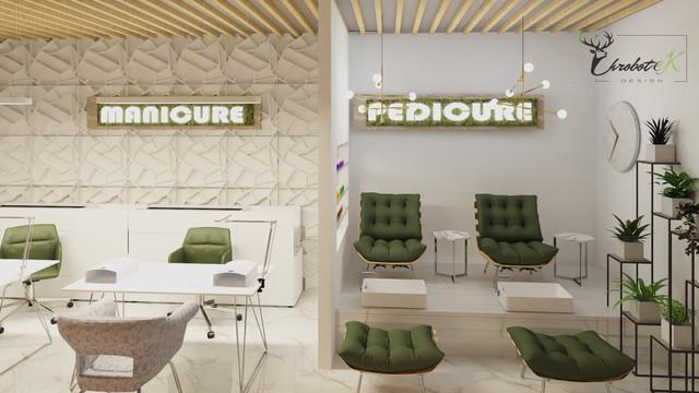 Nowoczesny salon kosmetyczny w odcieniach zieleni