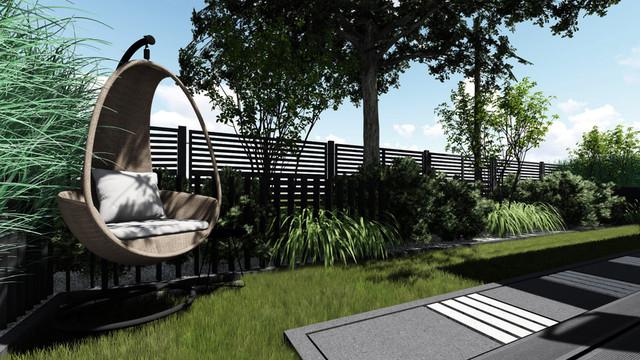 Ogród przy nowoczesnym domu jednorodzinnym