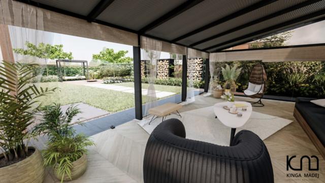 Ogród nowoczesny żółto-biały