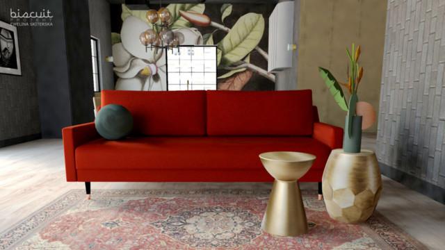 W salonie króluje czerwona sofa Alva od COMPLET FURNITURE...
