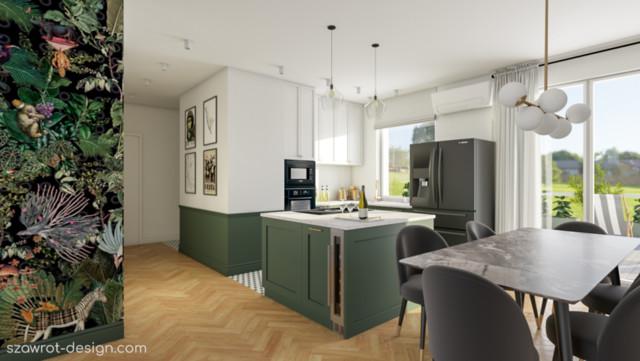 Eklektyczna kuchnia w warszawskim apartamentowcu